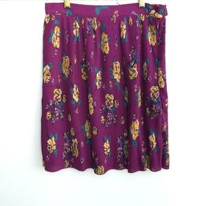 ModCloth Floral Pleated Skirt Plum Yellow Small
